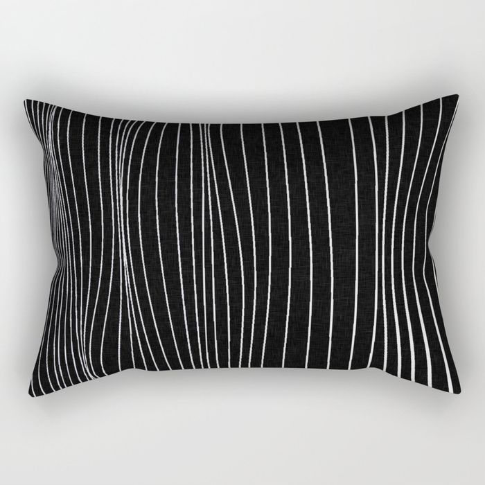 "Strings, white lines on black pattern Rectangular Pillow Our Rectangular Pillow is the ultimate decorative accent to any room. Made from 100% spun polyester poplin fabric, these ""lumbar"" pillows feature a double-sided print and are finished with a concealed zipper for an ideal contemporary look. Includes faux down insert. Available in small, medium, large and x-large."