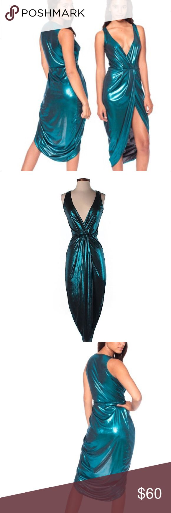 American Apparel Irridescent Teal Siren Dress Holographic Irridescent Siren Dress, Great Condition American Apparel Dresses Asymmetrical