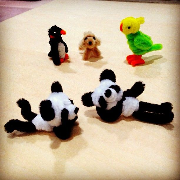 Pipe cleaner pandas are relaxing.