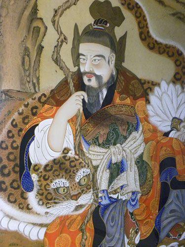 Sanshin the Mountain-spirit - Painting of Sanshin Mountain-spirit at Jiri-san Hwaeom-sa Monastery