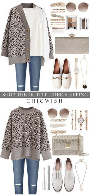 Free Shipping & Easy Return. Up to 30% Off. Taupe Leopard Knit Sweater and Cardi…