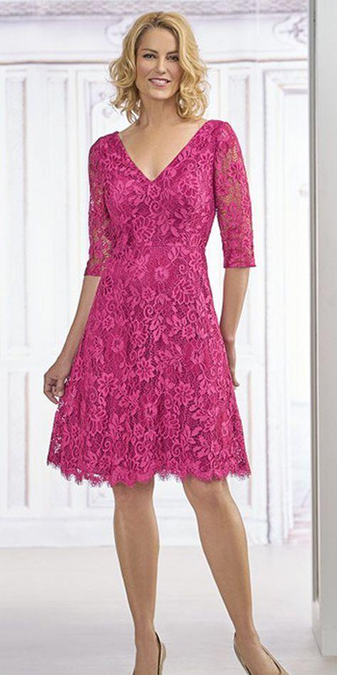 Fabulous Lace V-neck Neckline Knee-length A-line Mother Of The Bride Dress e918e2f48
