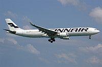 Finnair Airbus A330-302 OH-LTT aircraft, on short finals to Thailand Phuket International Airport.  12/11/2016.