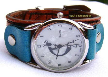 Leather Cuff Watch - Steampunk Kokopelli - Tan / Orange / Turquoise