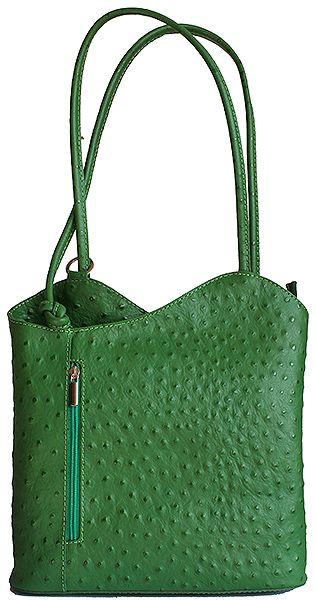 Multi-Way Green Ostrich Leather Shoulder Bag/Backpack