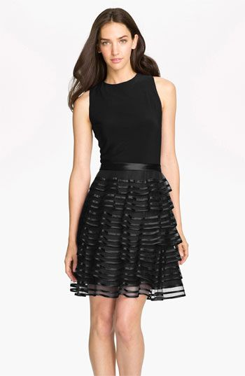Kathy Hilton Tiered Skirt Mixed Media Dress available at #NordstromWeddings