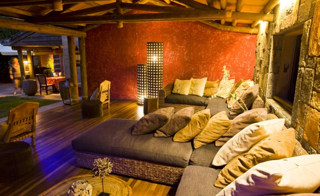 You can relax before or after your dinner. At Lakaz Chamarel, in Mauritius.