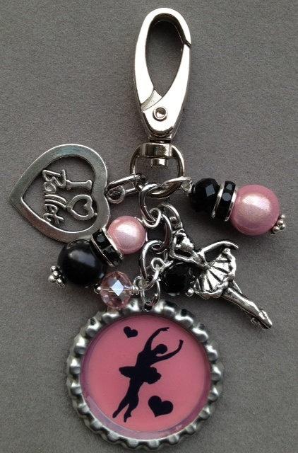 BALLET bottle cap blag bling dancer key chain by KeyChainBling, $16.00