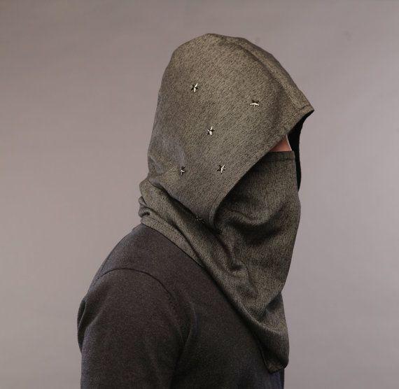Futuristic clothing / Burning man / Wool hooded scarf / Men scarf /Men neckwarmer / Scarf hood / scarves for women /Mens scarves / snood