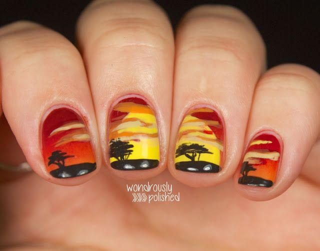 Wondrously Polished: Lion King Sunrise #nail #nails #nailart