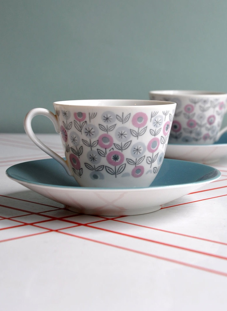 modernist flowers cup saucer rorstrand sweden. Black Bedroom Furniture Sets. Home Design Ideas