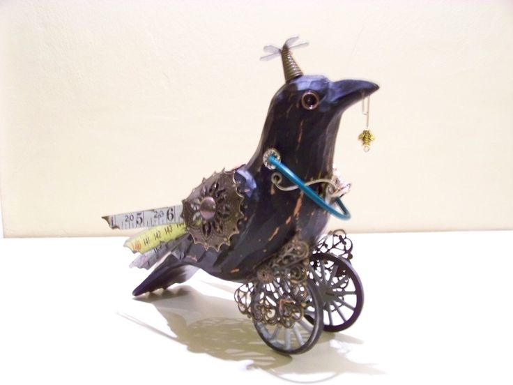 Steampunk Crow - Bird on Wheels - Direct from the U.S. Artist by SteampunqueAviary on Etsy