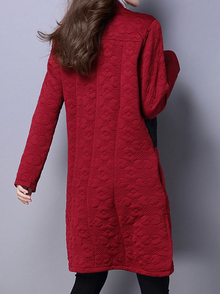 Vintage Button Patchwork Long Sleeve Chinese Style Loose Coat at Banggood