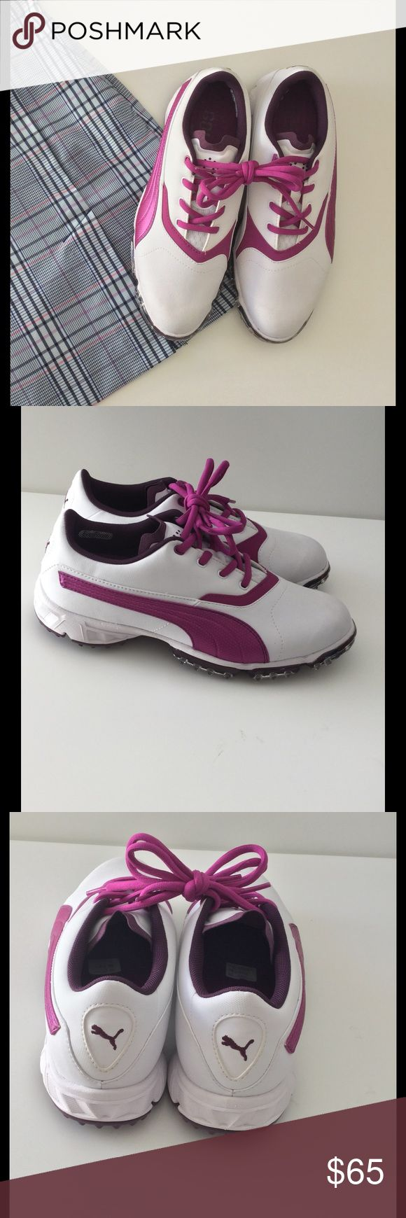 🆕 Puma Golf Shoes New The best golf shoes! Padded footbed w/ arch support & soft, padded tongue. White w/ magenta accents. Plastic cleats. Pictured golf skirt listed separately. Bundle discount. New without box.  🚭Smoke free home 🚫No trades please  😍 Thank you for shopping with me. Please ask all questions before purchase Puma Shoes Athletic Shoes