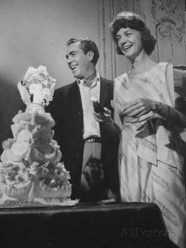 Jason Robards Jr. and Lauren Bacall Cutting the Cake at their Wedding Premium Photographic Print