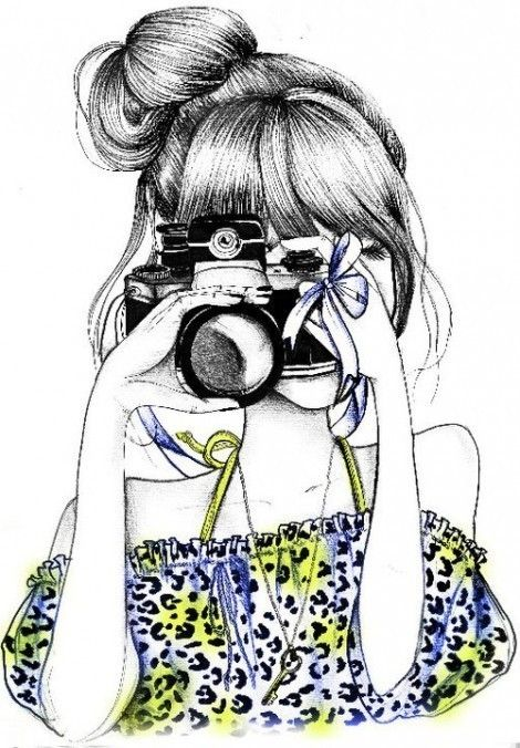 Girl with a camera...cute illustration.