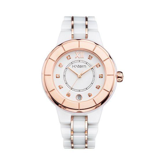 Relógio feminino de cerâmica branca e aro rosé http://m.hstern.com.br/relogio/feminino/sports-luxury/RS9AC204037