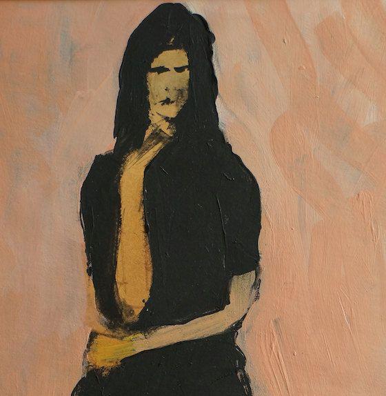 Staring woman in black on cream beige background. by ankaGilding