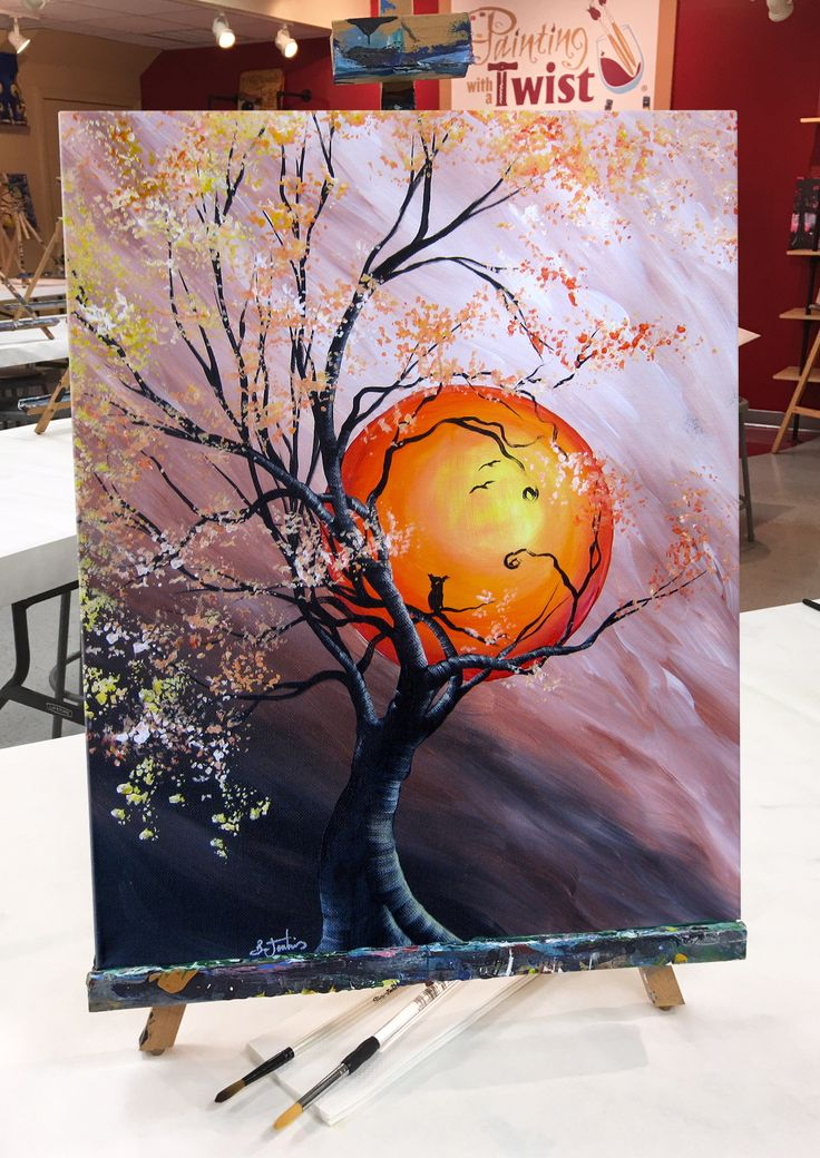 "It's such a fine and natural sight! Everybody was dancin' in the #moonlight... ""Harvest Moon 2"" is available to paint at any Painting with a Twist studio! Click to find a studio near you! Find this event: https://pwat.art/2hLv3yD"