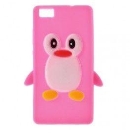 Huawei P8 Lite roosan punainen #pingviini silikonikuori.