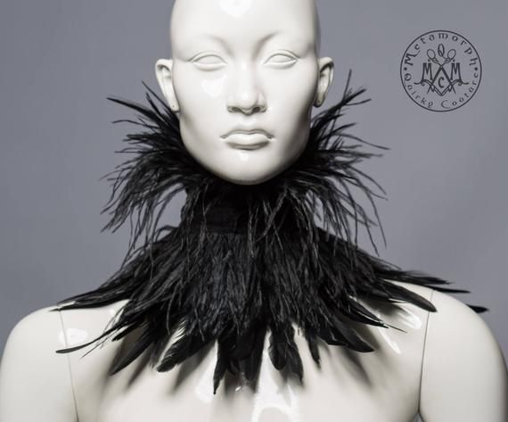 Black ostrich feather collar / Strega high collar with ostrich and chicken feather fringe / Burlesque fringe collar / Feather choker / Ega
