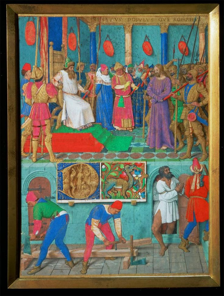 Jean Fouquet, Christ Before Pilate and Construction of the Cross