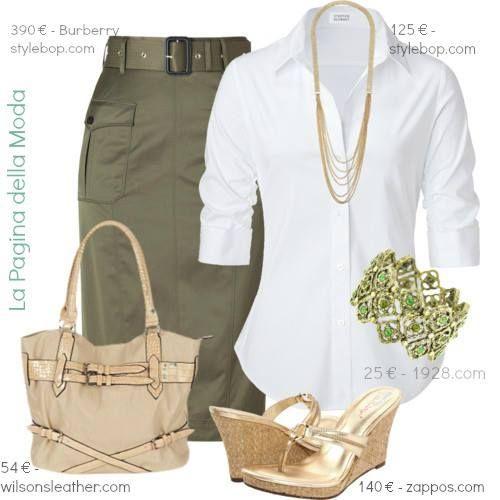 falda verde oliva y blusa blanca