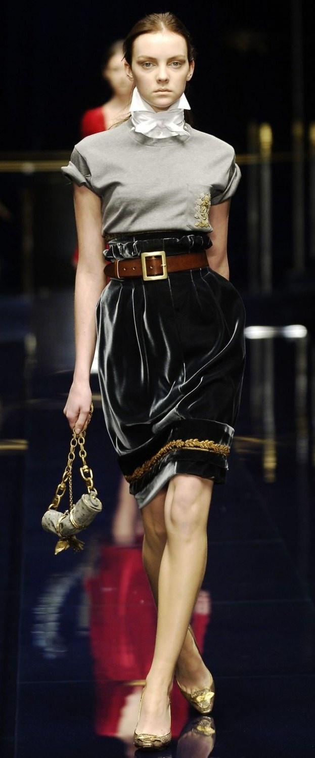 Dolce & Gabbana  silk velvet skirt buttoned up shirt