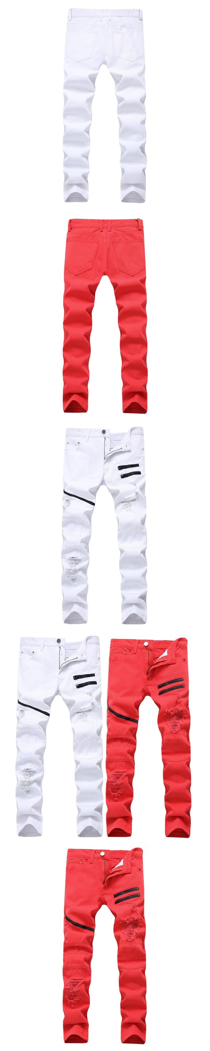 Men's Autumn Winter Hip Hop Zipper Pocket Pants Mens Casual Ripped Pants For Men Slim Fit Trousers Male White Red Plus Size 42