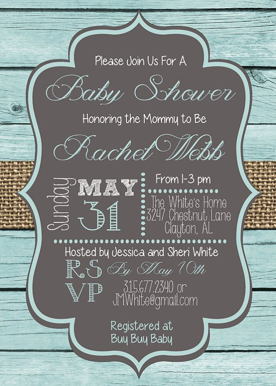 rustic blue wood plank and burlap baby boy baby shower invitation