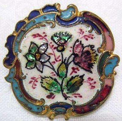Antique Enamel and Foil Button with Rococo Border.