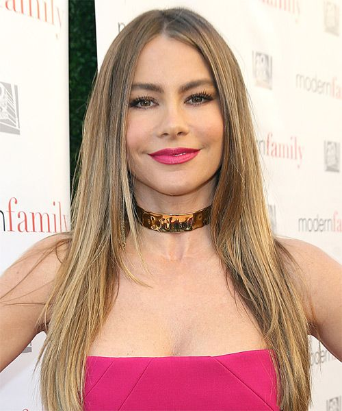 Sofia Vergara Sleek Straight Hairstyle - Try on this hairstyle and view styling steps! http://www.thehairstyler.com/hairstyles/formal/long/straight/sofia-vergara-hairstyle