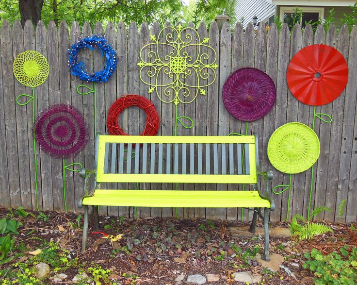 Recycled Garden Flower Wall Folk Art With Park Bench