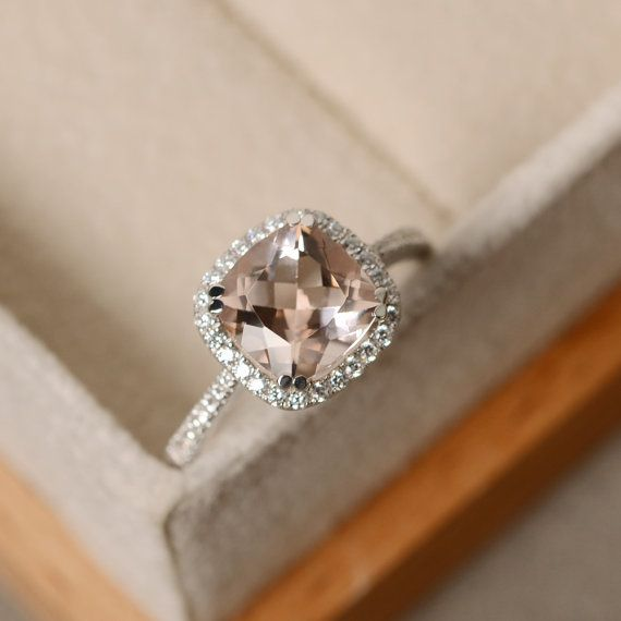 Morganite engagement ring cushion cut pink morganite by LuoJewelry