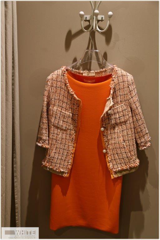Outfit elegante, giacca e abito. #White #arancione #abito #modadonna #ss15