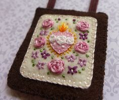 RESERVED Embroidered Brown Scapular: Sacred and Immaculate Hearts With Pink Roses and Pale Violets
