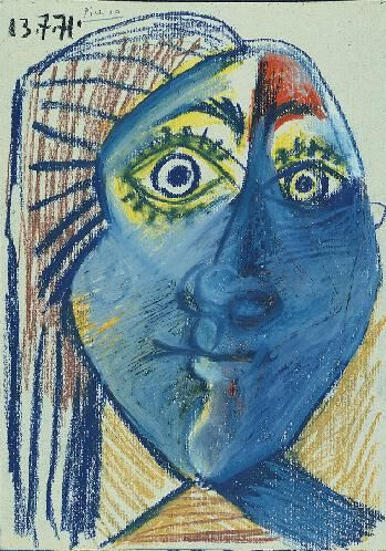 Pablo Picasso (Spanish, 1881-1973) Head of Woman, 1971 Pastel on grey board 11-5/8 x 8-1/4 in. (29.5 x 21 cm) Norton Simon Art Foundation M.1979.32.P © 2014 Estate of Pablo Picasso / Artists Rights Society (ARS), New York Reproduction, including downloading of ARS works is prohibited by copyright laws and international conventions without the express written permission of Artists Rights Society (ARS), New York