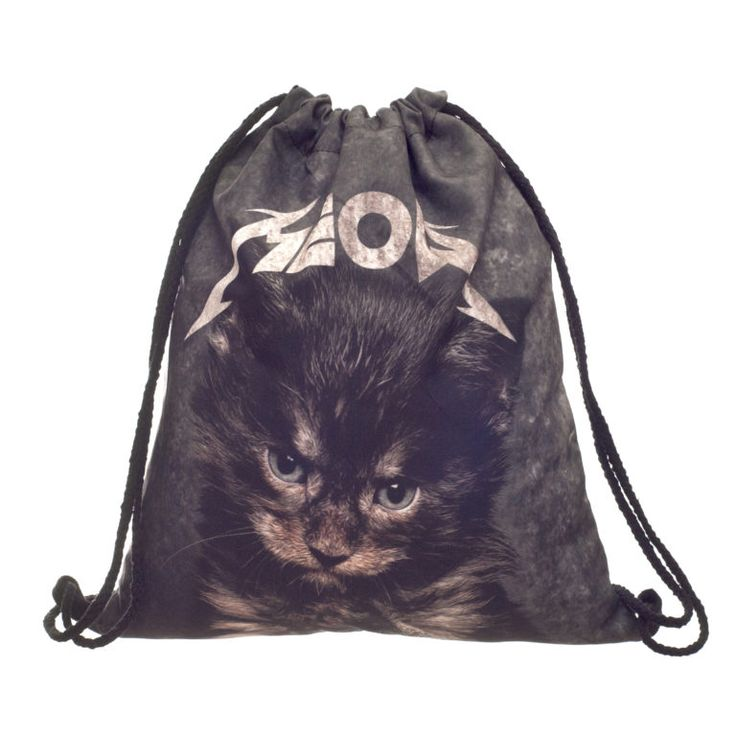 Metal Kitty Draw String Bag £8 // Free UK Delivery  https://www.teeisland.co.uk/shop/metal-kitty-draw-string-bag/