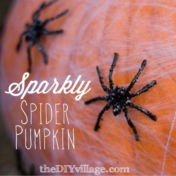 Make it! a Halloween Sparkly Spider Pumpkin - the DIY village