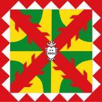 La bandera de Huesca se compone de la cruz de San Andrés y de complejos motivos de carácter geométrico en colores blanco, rojo, amarillo y verde. En el centro de la bandera esta un pequeño escudo con el lema romano VV Osca (vrbs victrix osca - Ciudad Vencedora Huesca).