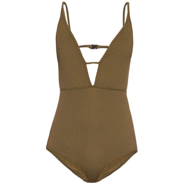 Zimmermann Lotte High Tri V-neck swimsuit (1.485 BRL) ❤ liked on Polyvore featuring swimwear, one-piece swimsuits, swimsuits, khaki, swim suits, retro style one piece swimsuits, retro swimsuit, one piece swimsuits and green bathing suit