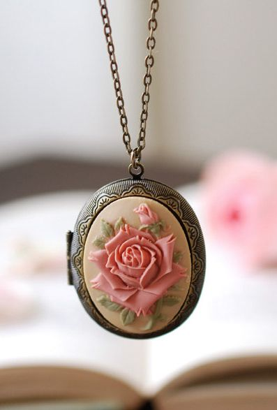 Large Rose Cameo Locket Necklace. Vintage Inspired