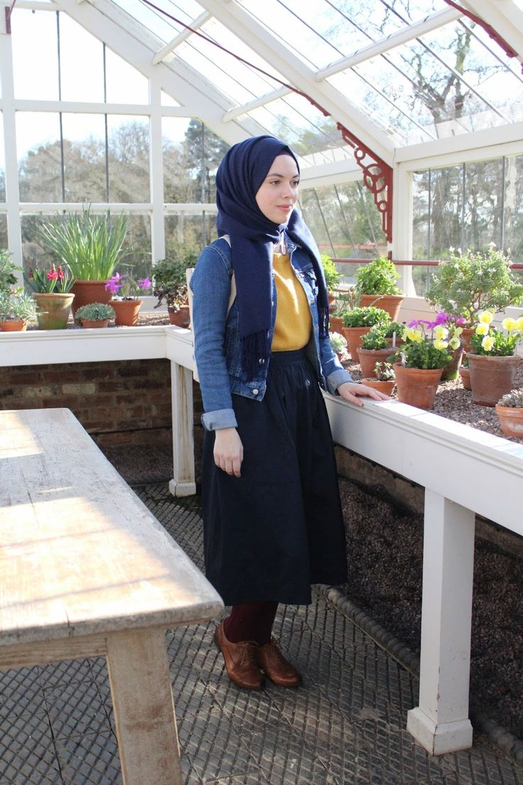 Vintagonista Vintage: vintage style, vintage outfit, vintage hijab style, mustard jumper, colour block, spring style, denim jacket, midi skirt outfit, oxford brogues outfit, hijab style, hijab blogger, vintage blogger, greenhouse, nature, blog post, shopping hacks, cute outfit, hijab style, hijab fashion, vintage hijab, vintage muslim, modcloth, muslim blogger, vintage blogger, vintage, retro