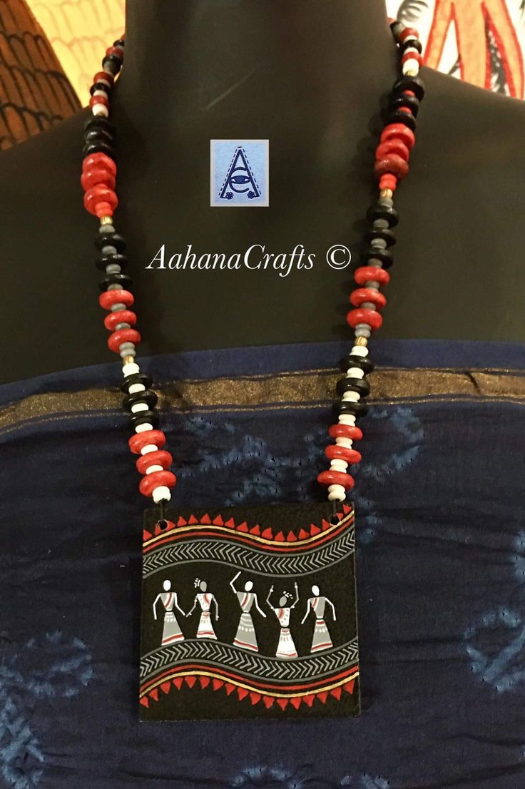 Terracotta pendant with beaded jewellery