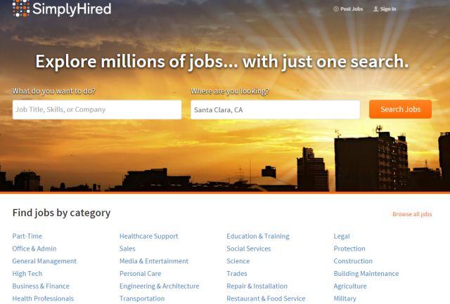 """7. SimplyHired also offers a very unique job search experience; the user """"trains"""" the job search engine by rating jobs he or she is interested in. SimplyHired also gives you the ability to research salaries, add jobs to a job map, and view pretty detailed profiles of various companies.  If you're looking for a good job search engine that focuses on local job listings, SimplyHired can be a good choice. You can browse by town, by zip code, or by state to find the job that might be right for…"""