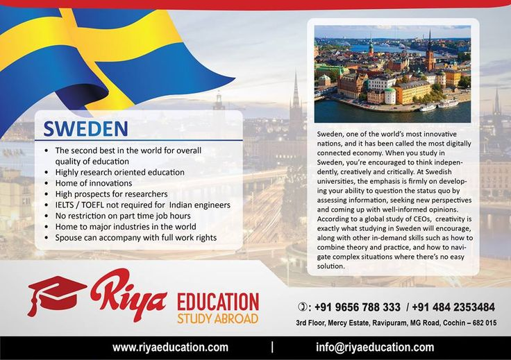 Wish to study abroad ? Choose Sweden one of the most innovative nations and the most digitally connected economy. For more details get in touch with Riya Education. Visit our website.