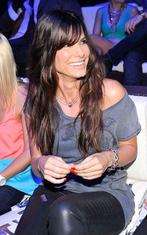 Sandra Bullock ~hair, long bangs - I need my hair to look like this.