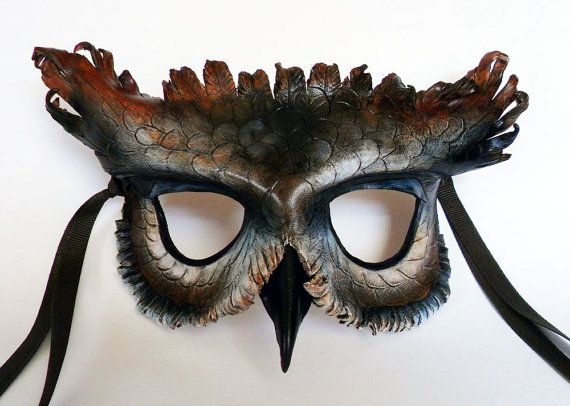 Great Horned Owl Leather Mask - Libertini Leather Accessories