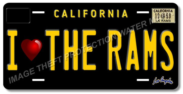 I Love The Rams LA Los Angeles California NFL Football Team License Plate Tag 6