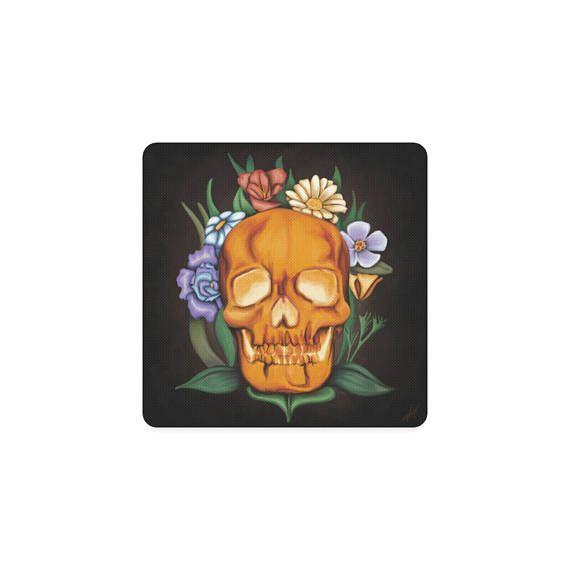 Dessous de verres Crâne et fleurs  sous verre tête de mort